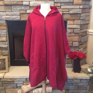 Sweaters - Red Oversized Hooded Poncho